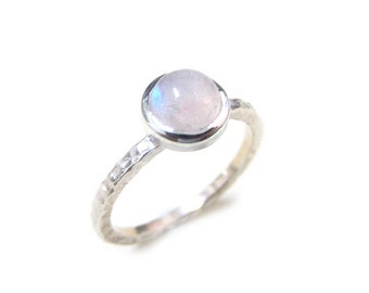 White/Rainbow Moonstone Hammered Stacking Ring Sterling Silver, Hammered Stackable Ring, June Birthstone Stacking Ring, Size 2-15