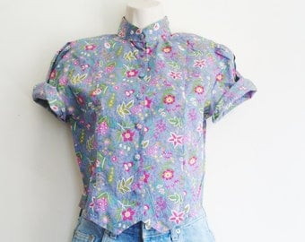 vintage short flowers blouse