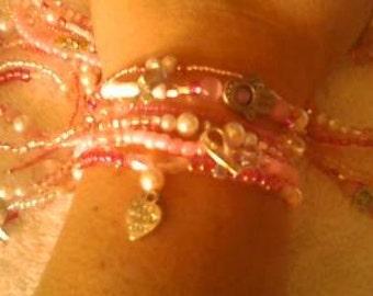 SET OF SIX  Pink Breast Cancer Awareness Bracelets