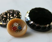 vintage glass buttons 3 buttons black tan and gold glass self shank Le Chic 5/8-3/4- 7/8 1950s sewing supplies excellent condition