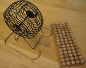 Vintage Metal Bingo Cage with Ball Chute and Wooden Balls