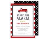 Fire Truck Party Invitation or Shower Invitation (Fire Truck  Party, Fire Truck  Invitation, Firetruck Party, Firetruck Invitation)