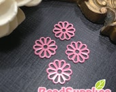 FN-FG-09425- Nickel Free,color enameled,Petite daisy filigree coral, 8 pcs