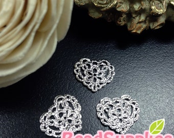 CH-ME-09291- silver plated, Lace charm - heart, 6 pcs