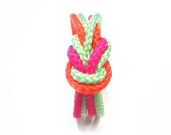 Double climb rope bracelet in multi neon colors