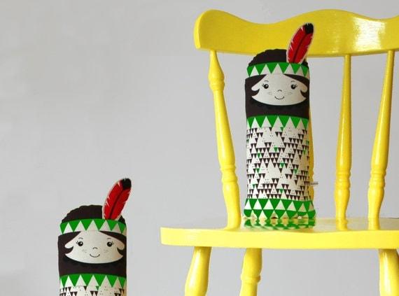 Native American Indian Scandinavian Retro Rag doll feather green mini cushion geo triangle