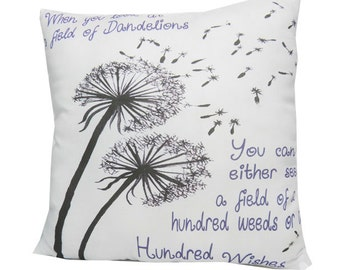 Dandelion Wishes Medium Moms Friends  Inspirational Quote Pillow