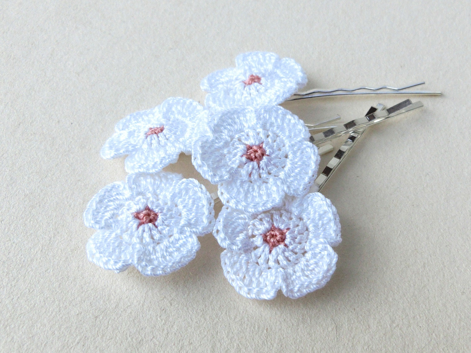 Little White Flowers Hair Pins Crochet Bridal Hair by goolgool