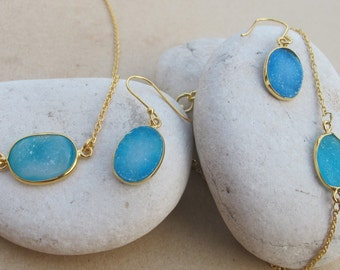 Something Blue- Blue Druzy Jewelry Set- Oval Druzy Necklace Bracelet Earring- Maid of honor Gifts -Classic Necklace Bracelet Earring