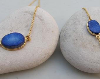Oval Blue Druzy Necklace Bracelet- Blue Stone Jewelry Set- Blue Gemstone Necklace Bracelet- Simple Jewelry Set
