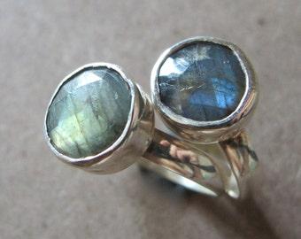 Stack Labradorite Ring- Green Labradorite Ring- Blue Labradorite Ring- Stack Ring- Gemstone Ring- Stone Ring- Silver Labradorite Ring