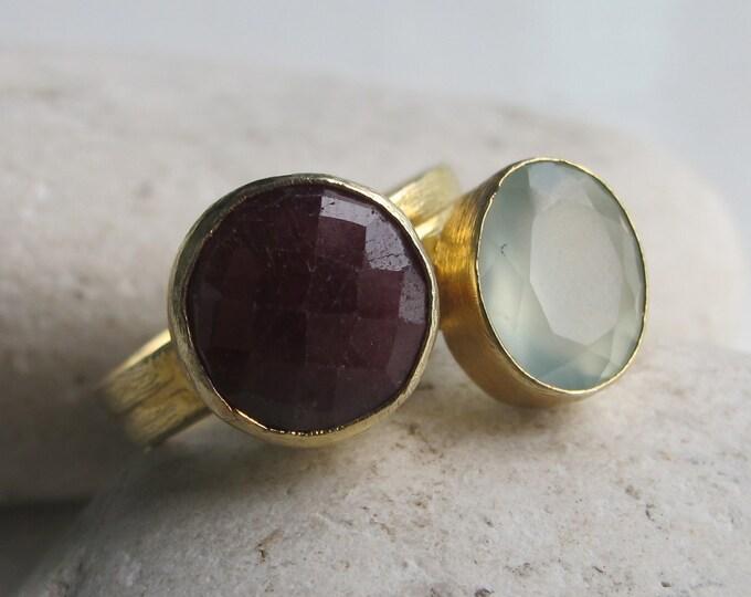 Stack Ruby Ring- Quartz Ring- Topaz Rings- Stone Rings- Stack Stone Ring- Ring- Chalcedony Ring- Gemstone Ring- Stacking Ring