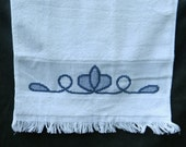 Blue Lace Towel - Kitchen Towel - Hand Towel - Cross Stitch Towel
