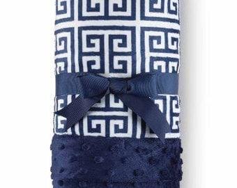 Monogrammed Navy Greek Key Baby Blanket- Baby Gift- Mud Pie