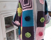 jacket three quarter length multi colour hand crochet