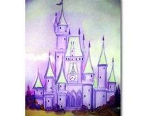 Princess Decor, Cinderella, Purple, Castle, Nursery Decor, Princess wall art, Kids baby Decor, Kids Wall Art, Nursery art, Girls room decor