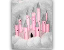Princess Castle Children's Wall Art, Grey & Pink, Baby Girl Nursery, Girls room Decor, Nursery Art, Princess room, Kids Wall Art, Kids Decor