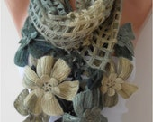 Christmas Gift Winter Scarf Knitting Scarf Green Women Scarf Crochet Scarf Gift for Her Autumn Winter Holiday Gift Ideas Women Fashion