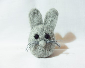 Needle Felted Rabbit -  miniature grey rabbit figure - 100% Corriedale wool - wool felt rabbit - Easter bunny