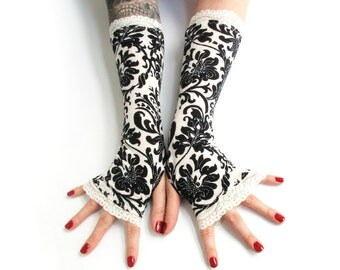 Victorian black and white  damask fingerless gloves with white lace  - Arm Warmers Goth Dark steampunk flower wedding flower bridal retro