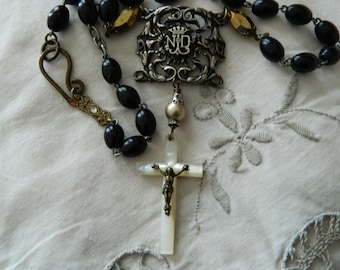 SALE use coupon code Spring10 for 10% OFF Paris Notre Dame Rosary Crucifix Assemblage Necklace Spiritual