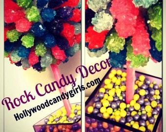 Rainbow Rock Candy Centerpiece Topiary Tree, Candy Buffet Decor, Candy Arrangement Wedding, Mitzvah, Party Favor, Neon