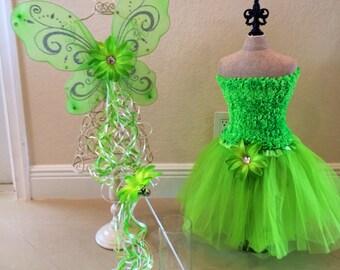 Tinkerbell Costume, Tinkerbell Dress, Faiy Costume, Tutu, Tinkerbell Fairy Wings, Tinkerbell tutu, Green Tutu, Tinkerbell Party Favors