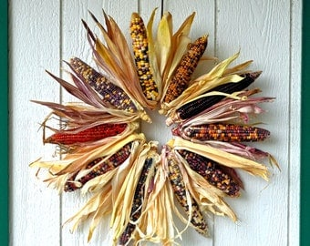 Large Indian Corn Wreath, Natural Indian corn fall wreath, Multicolored corn wreath, Autumn Wreath, Halloween wreath