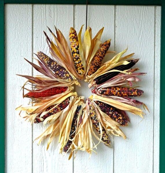 Large Indian Corn Wreath Natural Indian Corn Fall Wreath