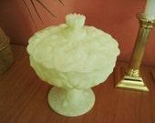 Fenton Yellow Satin Custard Glass Covered Pedestal Candy Dish 1960