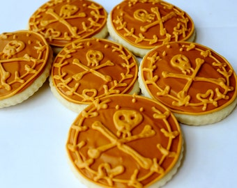 Pirate Coins / Gold Coins / Pirates Bootie Sugar Cookies with Buttercream Frosting