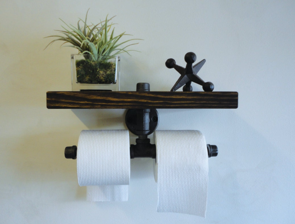 Industrial Black Pipe Dual Toilet Paper Holder Shelf The