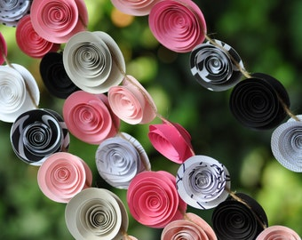 Wedding Garland Paper Flowers pink and black  22 feet