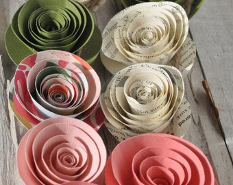 Coral and Sage Green Paper Flower Garland Shower garland Wedding Flower Garland- 12 feet