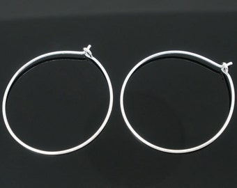 50 Pieces Silver Plated Wine Glass Charm Rings/Earring Hoops, 25mm