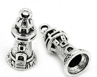 5 pieces Antique Silver Lighthouse Charms