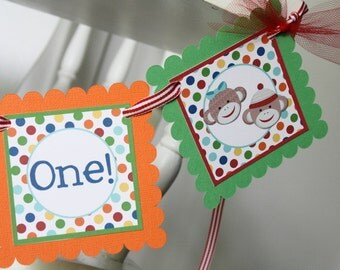 Sock Monkey High Chair Banner, Twins Sock Monkey, Multicolor Sock Monkey First or Second Birthday Mini Banner