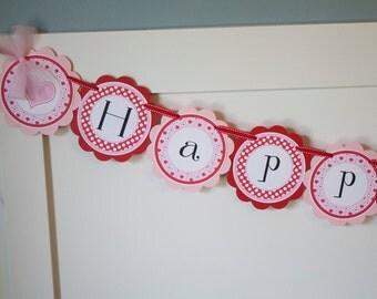 Hearts Valentine Birthday Banner, Sweetheart Birthday Banner, Red and Pink Valentine Banner