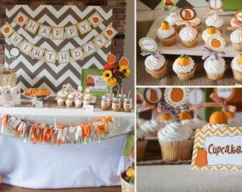 Little Pumpkin Birthday Printable Party Package - Customized, Pumpkin DIY Printable Set