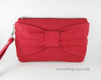 SUPER SALE - Red Bow Clutch - iPhone 5 Wallet, iPhone Wristlet, Cell Phone Wristlet, Cosmetic Bag, Camera Bag, Zipper Pouch - Made To Order