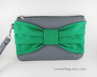 SUPER SALE - Gray with Clover Green Bow Clutch - Personalized Monogram Zipper Pull, iPhone Wallet, Cell Phone Purse - Made To Oreder