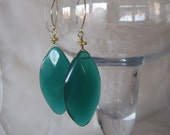 Big Bold Emerald Green Faceted Glass Marquise Drop Earrings