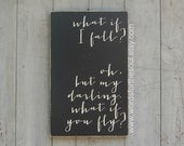 What if I Fall What If you FLY Scripture Subway Art Wooden Sign Painting Inspirational Nursery Teen graduation