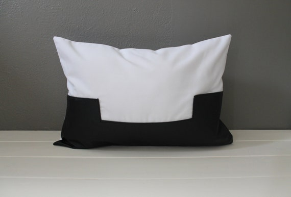 White Leather Throw Pillow : Black and White Leather Pillow: Modern Vegan by HabitatHandcrafted