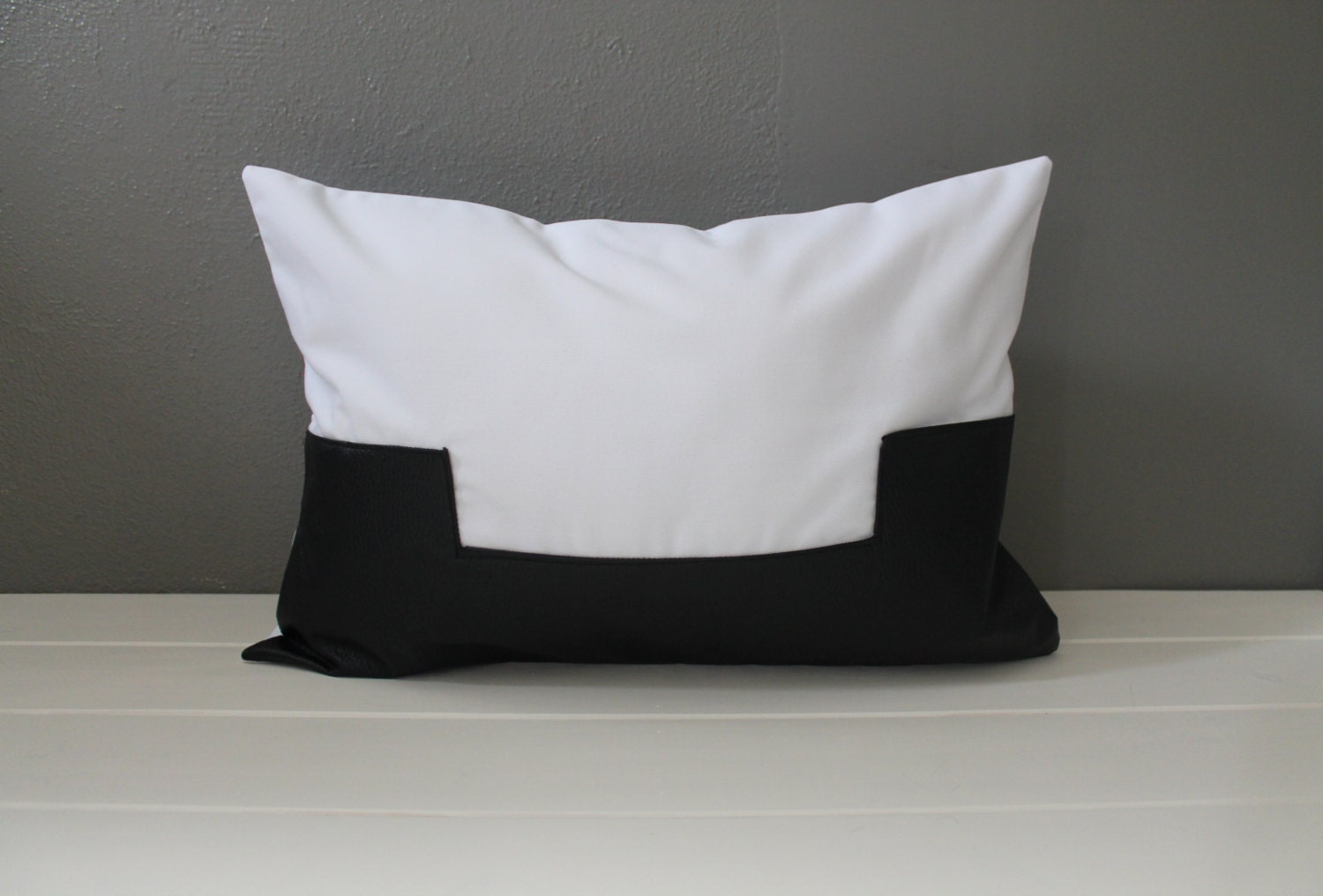 Modern White Pillow : Black and White Leather Pillow: Modern Vegan by HabitatHandcrafted