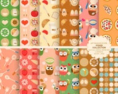 Food digital paper Pizza backgrounds, Cooking backgrounds, owl chef paper - INSTANT DOWNLOAD
