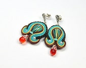 Soutache Earringsi. Hand Embroidered Soutache Earrings. Oriental Earrings. Turquoise Earrings.