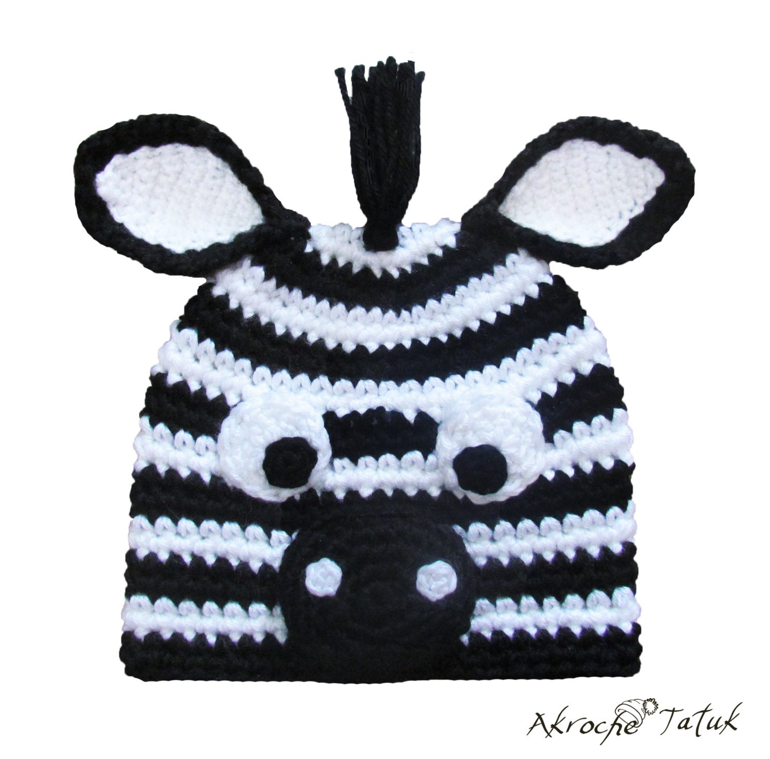 Crochet Zebra Hat : Request a custom order and have something made just for you.
