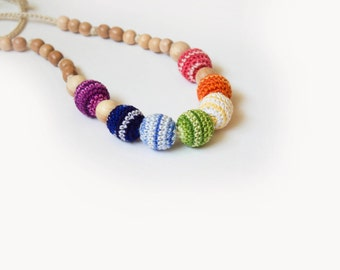 Colorful Striped Nursing Necklace-Rainbow Teething Necklace-Multicolor Babywearing necklace for Mother and child - Breastfeeding Necklace