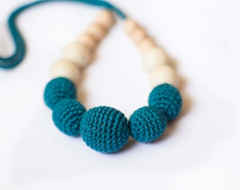 Teal Crochet Nursing Necklace- Petrol Teething Necklace- Breastfeeding- Mommy and Child